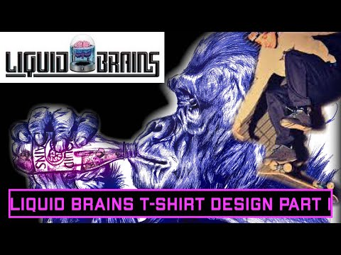 T-shirt design concept drawing in blue bic pen. (part 1)