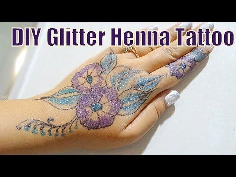 Diy glitter colored henna inspired mehndi tattoo   hennaandnailart