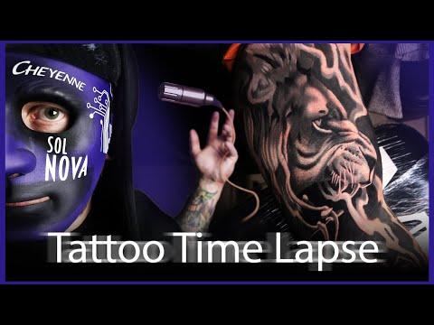 Tattoo time lapse   grey lion   michael koschel art