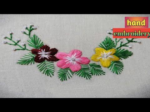 Design tutorial and embroidery hand stitched stitched design cute червена роза бродерия дизайн