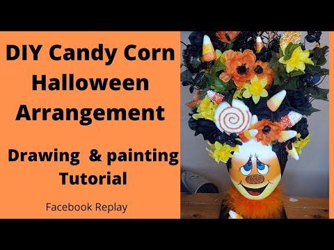 Diy candy corn halloween styrofoam head arrangement