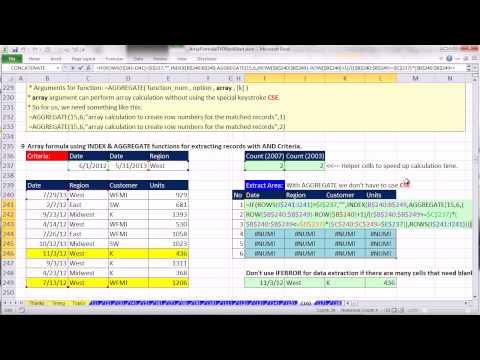 Ctrl shift enter: excel array formulas 16: formulas to extract records with criteria 23 examples