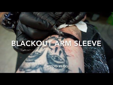 Getting a black arm tattoo | blackout sleeve | tattoo vlog