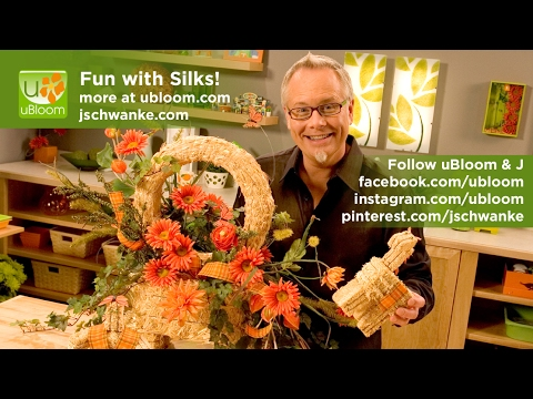 How to make a silk flower arrangement in a straw bale!